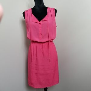 LOFT Pink Sleeveless Elastic Waist Lined Dress S